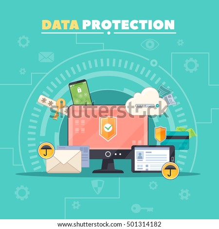 Computer communications safety and private data protection flat composition poster with antivirus software symbol abstract vector illustration