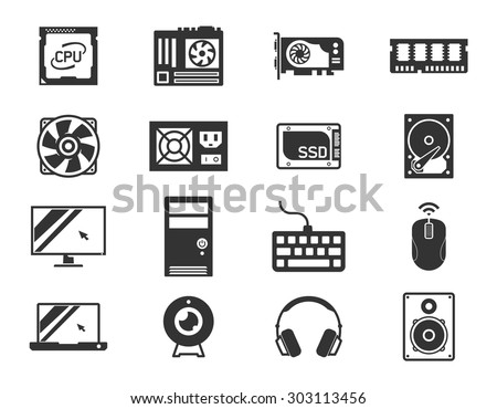 Computer components icon set: processor, motherboard, RAM, video card, hdd,ssd, sshd, power unit, cooler // Black & White - stock vector
