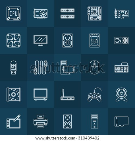 Computer components icons - vector set of hardware symbols or PC accessories - stock vector