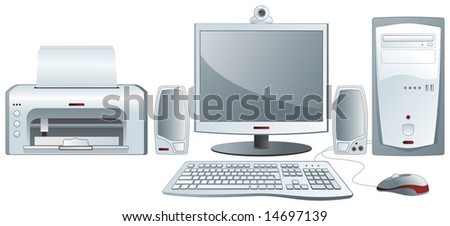 Computer configuration - TFT monitor, keyboard, mouse, printer, audio system, webcam - stock vector