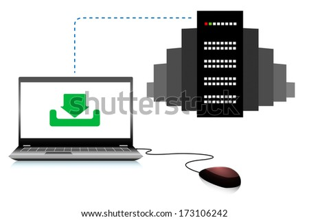 Computer connected to the server, vector illustration - stock vector