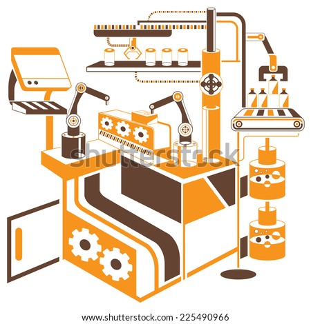 computer controlled automated manufacturing process, industrial robot in packaging line - stock vector