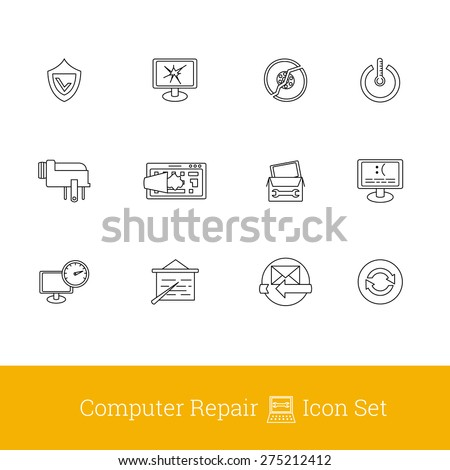 Computer damage and repair outline icons - stock vector