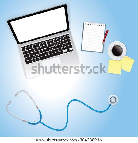 Computer desk and Stethoscope top view, vector 10 - stock vector
