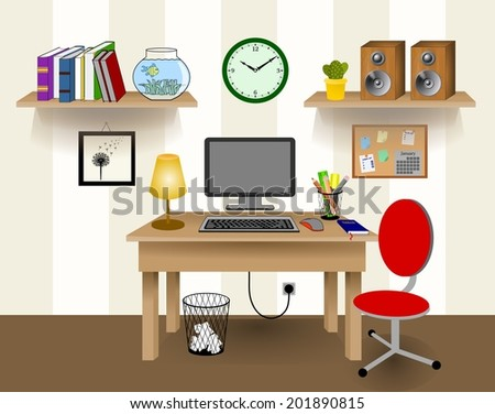 computer desk office works. Computer Desk Decor, Colorful Retro Creative Office Work Space With Pc. Wall Beige Works