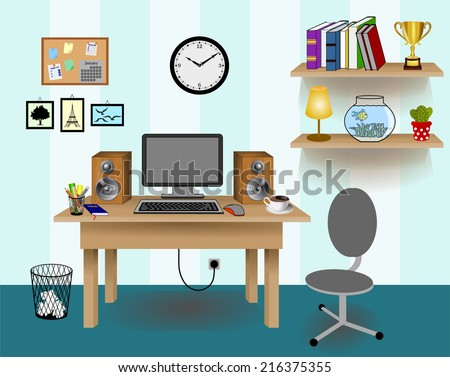Computer Desk Decor, Colorful Retro Creative Office Work Space With Pc.  Wall With Blue