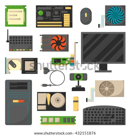 Computer details motherboard isolated on white background and vector set computer details hardware. Electronic information component computer details and processor chip communication computer details. - stock vector