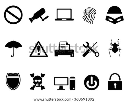 computer device security icons set - stock vector