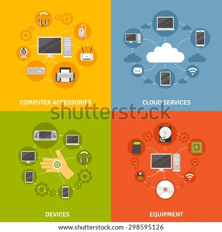 Computer devices accessories and equipment and cloud service scheme  flat icon set isolated vector illustration - stock vector