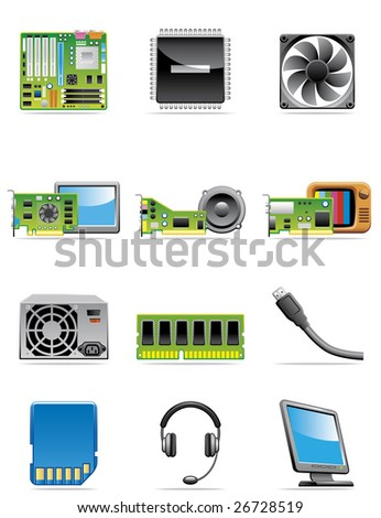 Computer devices icons - stock vector