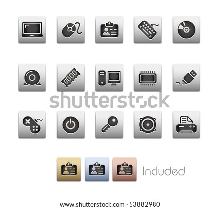 Computer & Devices // Metallic Series - It includes 4 color versions for each icon in a different layer. - stock vector