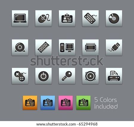 Computer & Devices // Satinbox Series -------It includes 5 color versions for each icon in different layers --------- - stock vector