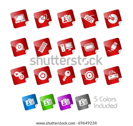 Computer & Devices // Stickers Series -------It includes 5 color versions for each icon in different layers --------- - stock vector