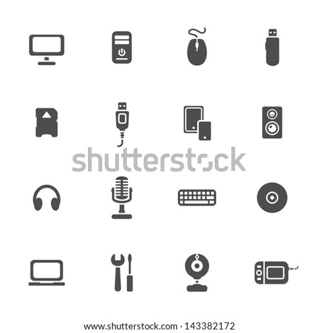 Computer devices theme icons set - stock vector