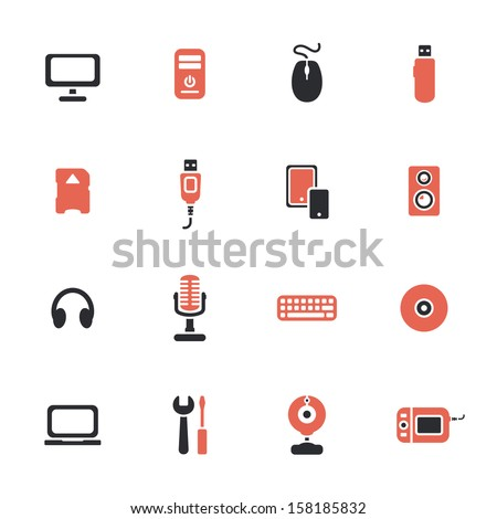 Computer devices theme icons set
