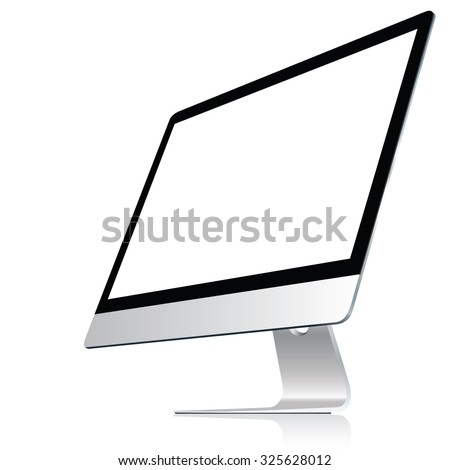 Computer display isolated on white. Vector eps10 - stock vector