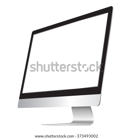 Computer display isolated on white. Vector eps10