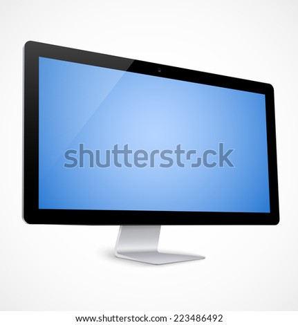 Computer display with blue screen. Vector illustration - stock vector