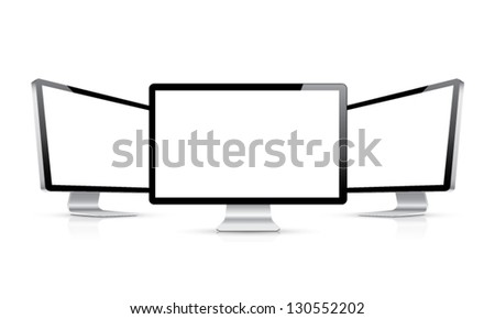Computer display with two angles isolated on white eps10 vector - stock vector
