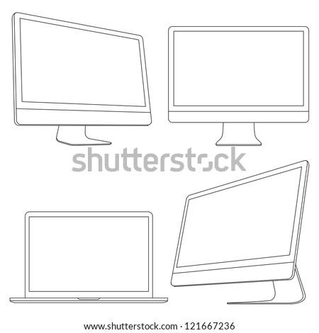 Computer displays and laptop. Vector set - stock vector