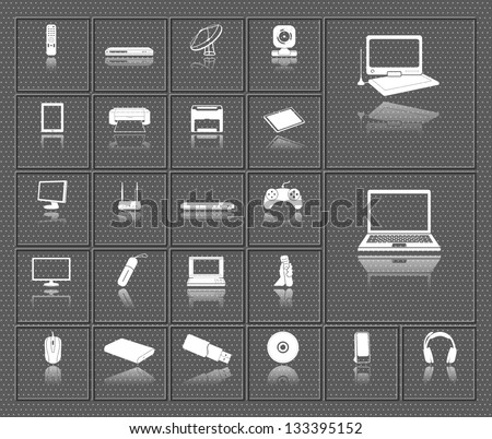 computer, electronic device, tv and media vector icons set with reflection on dark background - stock vector