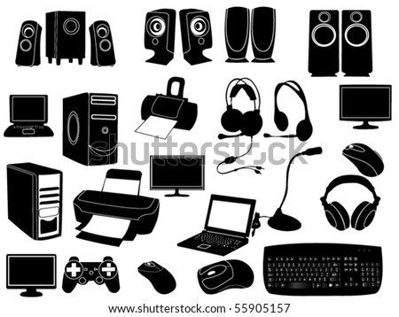 Computer elements - stock vector