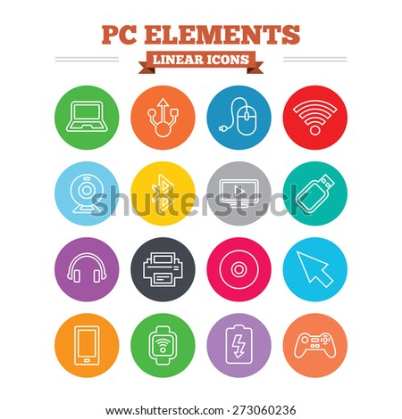 Computer elements linear icons set. Notebook, usb port and smartphone. Printer, smart watch and game console joystick. Bluetooth, flash stick and cursor pointer. Thin outline signs. Flat circles - stock vector