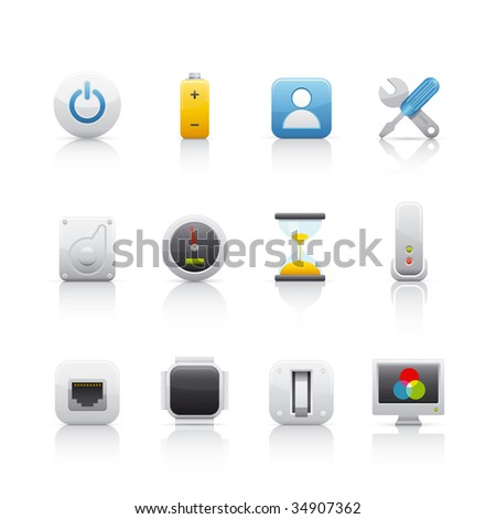 Computer Elements Set of icons on white background in Adobe Illustrator EPS 8 format for multiple applications. - stock vector