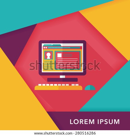 Computer flat icon with long shadow,eps10 - stock vector