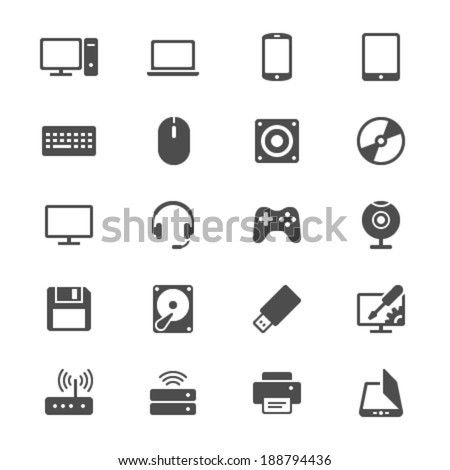 Computer flat icons - stock vector