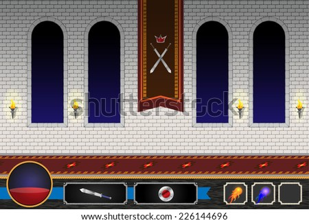 Computer Game Castle Level - stock vector