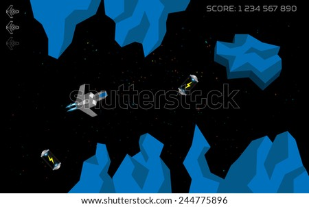 Computer game concept. Level complete screen. Spaceship in space - stock vector