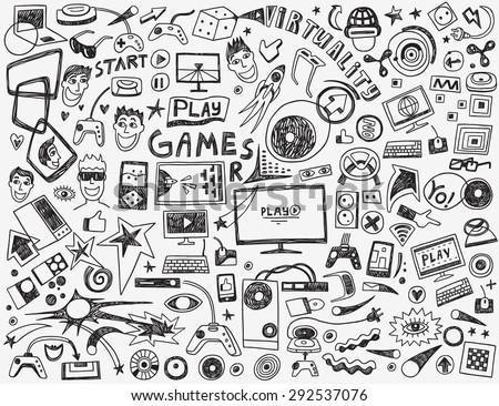 computer games - doodles collection - stock vector