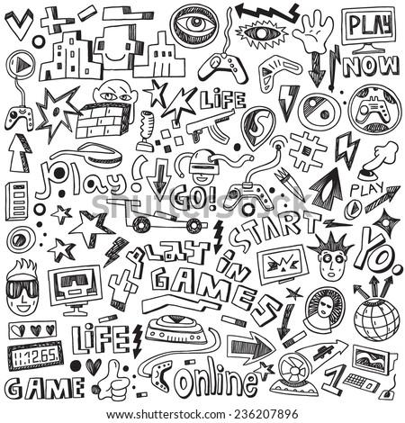 computer games - doodles set - stock vector