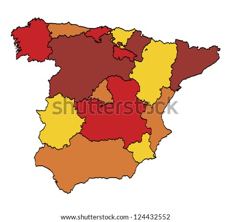 computer generated administration map of spain in warm colors - stock vector