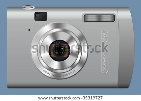 Computer generated illustration: realistic digital camera on blue background - stock vector