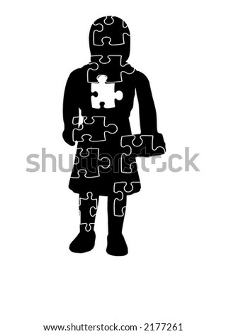 Computer generated vector graphics. Girl silhouette include puzzle shapes.