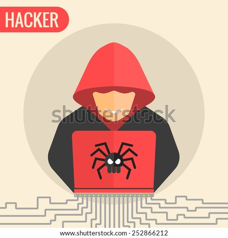 Computer hacker spread a net - isolated vector illustration. - stock vector