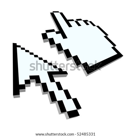 Computer hand and arrow cursors. 3d illustration - stock vector