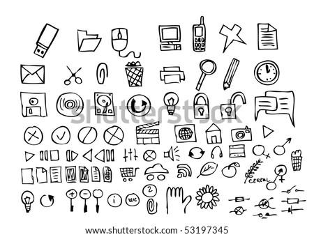 computer hand draw symbols - stock vector