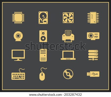 Computer hardware and peripherals icons. PC Components. Vector icons - stock vector
