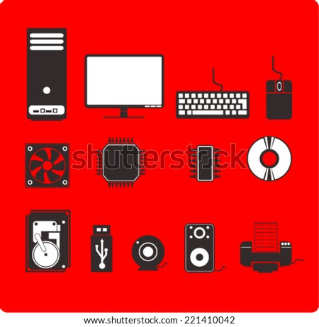 Computer Hardware Icons. - stock vector