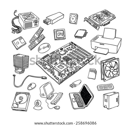 Computer Hardware Icons. PC Components. - stock vector