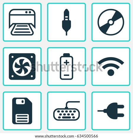 Computer Hardware Icons Set. Collection Of Aux Cord, Computer Ventilation, Connector And Other Elements. Also Includes Symbols Such As Floppy, Wireless, Photocopy.