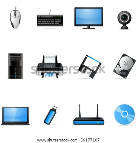 computer hardware icons - vector illustration - stock vector