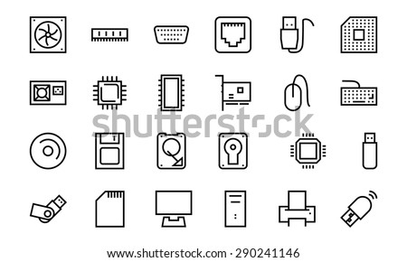 Computer Hardware Vector Line Icons 1 - stock vector