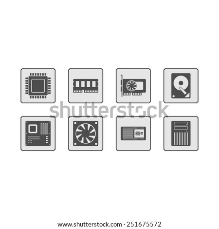 Computer Hardware Web Icons - stock vector