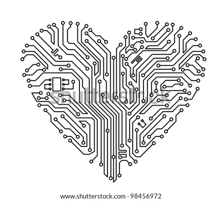 Computer heart with motherboard elements for technology concept design. Jpeg version also available in gallery