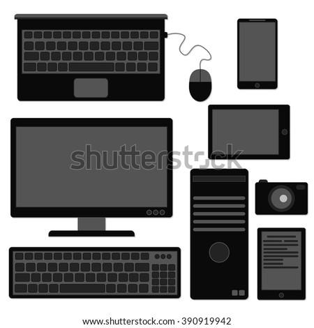 Computer icon black - stock vector