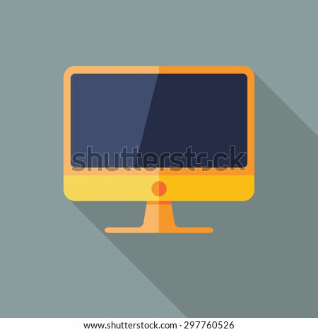 Computer Icon. Flat Vector Icon With Long Shadow Design Collection. - stock vector
